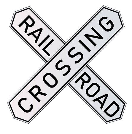 Vektor detaillierte Eisenbahnwarnzeichen isoliert auf weißem Hintergrund. Vektorillustration in ENV 10.