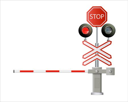 traffic light, Railway barriers close isolated on white background, design concept for start up, business solutions,development and innovation, creativity, Illustration