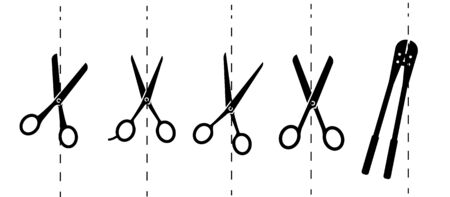 Scissors with cut lines. Vector illustration.Paper cut icon with dotted line. Vector scissors with cut lines. Vector set of cutting scissors.