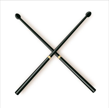 Drumsticks or drum sticks vector. Rock or jazz equipment. Isolated on white background. icon for music apps and websites