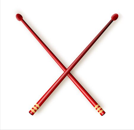 Vector illustration. Crossed red wooden drumsticks. Percussion musical instrument. Rock or jazz equipment. Isolated on white background Ilustração Vetorial