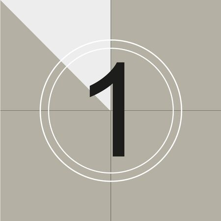 classic movie countdown frame at the number one. Vintage retro cinema. Abstract concept graphic element. Art design. Vector illusration EPS 10 Vecteurs