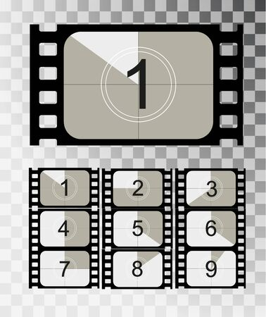 Movie countdown, vintage silent film and blank full frame still photography film realistic thirty five millimeters proportions, set of icons Illustration