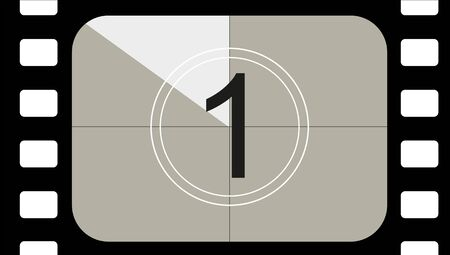 classic movie countdown frame at the number one. Vintage retro cinema. Abstract concept graphic element. Art design. Vector illusration EPS 10