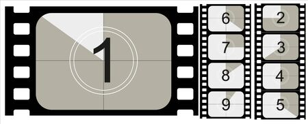 Movie countdown, vintage silent film and blank full frame still photography film realistic thirty five millimeters proportions, set of icons. Vector illustration EPS 10 Illustration