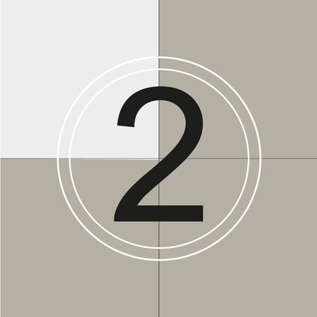 classic movie countdown frame at the number two. Vintage retro cinema. Abstract concept graphic element. Art design. Vector illusration EPS 10