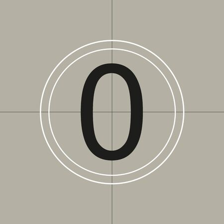 classic movie countdown frame at the number zero. Vintage retro cinema. Abstract concept graphic element. Art design. Vector illusration EPS 10