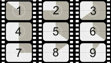 Movie countdown, vintage silent film and blank full frame still photography film realistic thirty five millimeters proportions, set of icons. Vector illustration EPS 10 Vecteurs