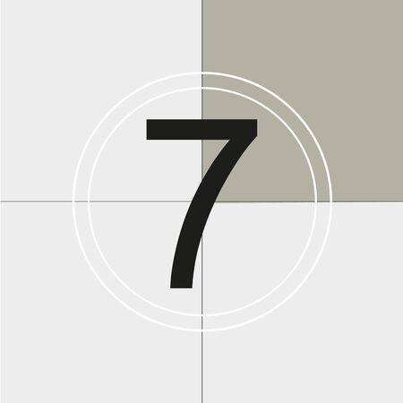 classic movie countdown frame at the number seven. Vintage retro cinema. Abstract concept graphic element. Art design. Vector illusration EPS 10