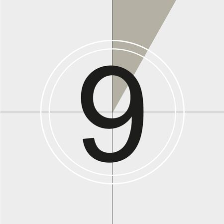 classic movie countdown frame at the number nine. Vintage retro cinema. Abstract concept graphic element. Art design. Vector illusration EPS 10 Vecteurs