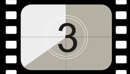 classic movie countdown frame at the number three. Vintage retro cinema. Abstract concept graphic element. Art design. Vector illusration EPS 10