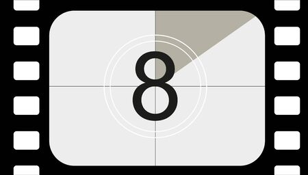 classic movie countdown frame at the number eight. Vintage retro cinema. Abstract concept graphic element. Art design. Vecteurs