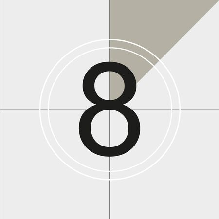 classic movie countdown frame at the number eight. Vintage retro cinema. Abstract concept graphic element. Art design.