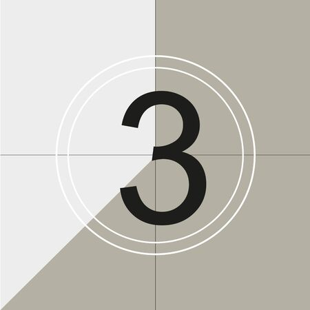 classic movie countdown frame at the number three. Vintage retro cinema. Abstract concept graphic element. Art design. Vector illusration EPS 10 Illustration