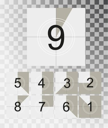 Countdown frame of Old film movie timer count creative vector. Vintage retro cinema. Abstract concept graphic element.Vector illustration EPS 10.