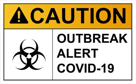Coronavirus covid 19 caution outbreak quarantine alert sign in front of quarantine room infected coronavirus patient and coronavirus covid 19 disease control experts 向量圖像