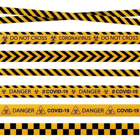 Coronavirus warning sign in a triangle and warning tape vector illustration. Coronavirus in Europe.  Global epidemic of COVID-2019.