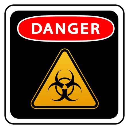 Coronavirus warning sign in a triangle and warning tape vector illustration. Coronavirus in Europe.
