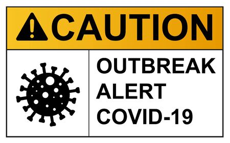 Coronavirus covid 19 caution outbreak quarantine alert sign in front of quarantine room infected coronavirus patient and coronavirus covid 19 disease control experts Illustration