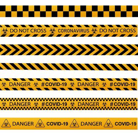 Coronavirus warning sign in a triangle and warning tape vector illustration. Coronavirus in Europe.Global epidemic of COVID-2019. 向量圖像