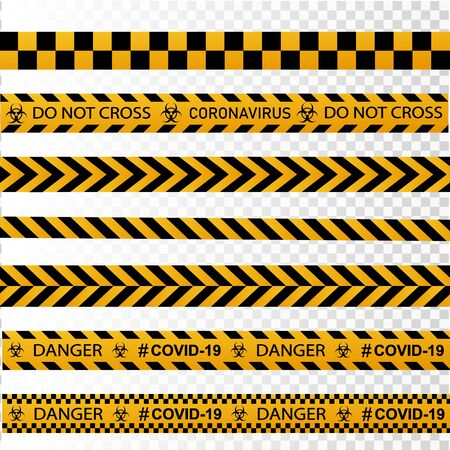 Coronavirus warning sign in a triangle and warning tape vector illustration. Coronavirus in Europe. Global epidemic of COVID-2019. 向量圖像