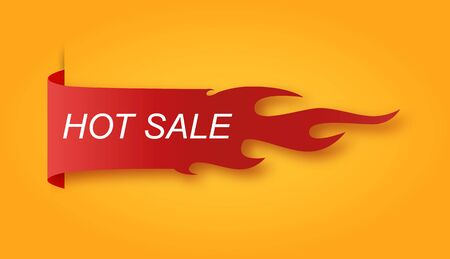 Flat linear promotion fire banner, price tag, hot sale, offer, price .Vector illusration EPS 10