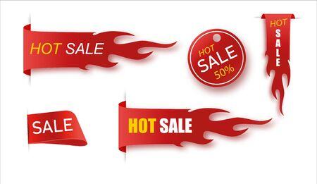 Flat linear promotion fire banner, price tag, hot sale, offer, price set.Vector illusration EPS 10 Ilustração