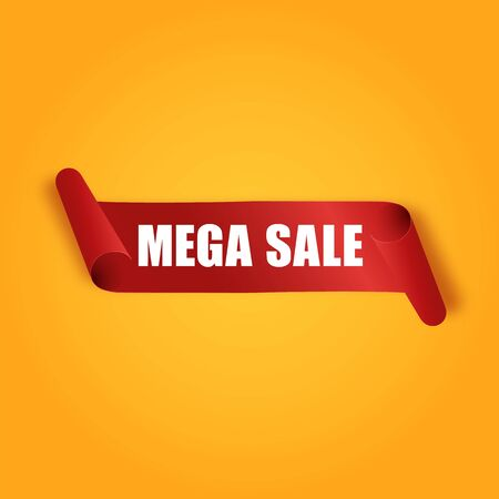 Big sale banner. Red paper roll ribbon. Realistic style. Isolated on orange background. Design element for business or web. With space for text. Vector illustration.