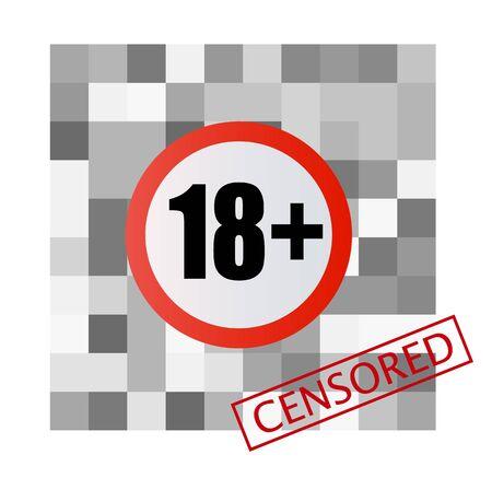 Pixel censored sign. Black censor bar concept. 向量圖像