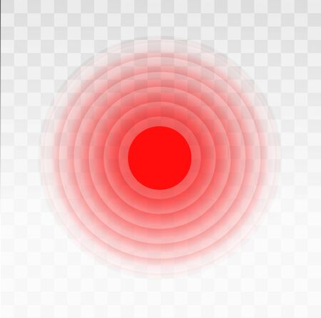 Pain circle red icon for medical painkiller drug medicine. Vector red circles target spot symbol for pill medication design template of body or muscular joint pain and head ache analgesic remedy