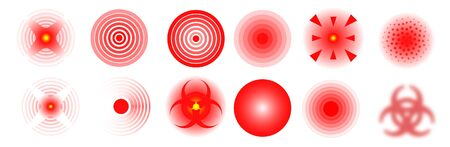 Set of vector Pain icons. Pain red circles isolated. Ache localization icons 向量圖像