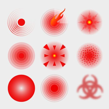 Pain red circle or ache localization icon. Body painful spot marks. Muscle pain, painful headaches or healt. Sonar waves isolated on transparent background. 向量圖像