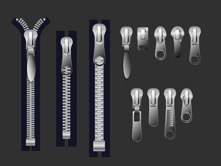 Zipper pulls. Metal zippers and fabric pull, cloth clasp and clothing zipper. Textile zip, fabrics zippers fastener or clothing plastic unzip. Isolated 3d realistic Vector illusration EPS 10