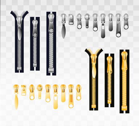 Metal and plastic zippers set. Steel zipper in closed and opened positions. Clothes accessory. Many metallic zippers isolated on transparent background . Vector illusration EPS 10