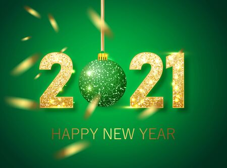 Happy new year 2021 banner.Golden green Vector luxury text 2021 Happy new year. Gold Festive Numbers Design. Happy New Year Banner with 2021 Numbers
