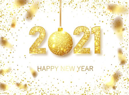 Happy New 2021 Year. Holiday vector illustration of golden metallic numbers 2021. Realistic gold vector sign. Festive poster or banner design 向量圖像