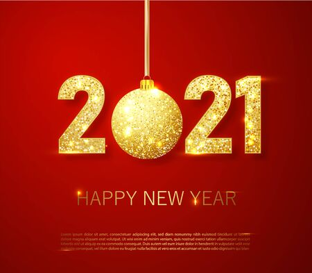Realistic 2021 golden numbers and festive try toy on red background. Vector holiday illustration. Happy New 2021 Year. New year ornament. Decoration element with tinsel
