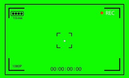Chroma key modern digital video camera focusing screen isolated on green background 向量圖像