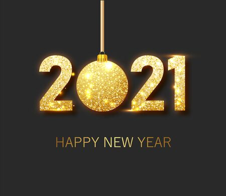 Happy new year 2021 banner.Golden Vector luxury text 2021 Happy new year. Gold Festive Numbers Design. Happy New Year Banner with 2021 Numbers 向量圖像