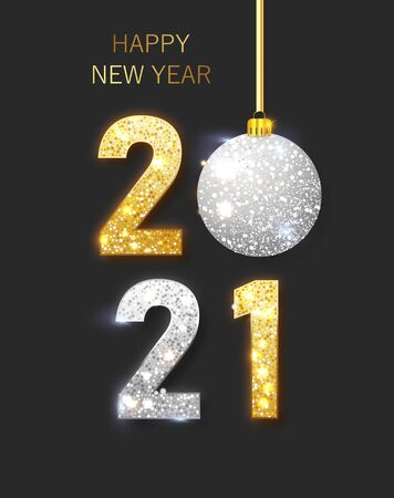 2021 Happy new year. Happy New Year Banner with gold metallic numbers date 2021