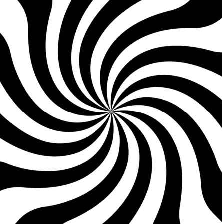 Hypnosis Spiral, concept for hypnosis, unconscious, chaos, extra sensory perception, psychic, stress, strain, optical illusion, headache, migraine. Black and white Иллюстрация