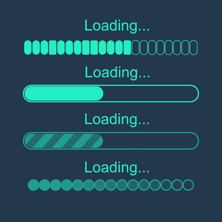 Futuristic progress loading bar. Set of indicators. Download progress, web design template, interface upload.Vector