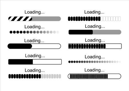 Indicateur de téléchargement futuriste. icônes de progression de la barre de chargement, illustration vectorielle de signe de charge vert. Concept de mise à jour et de mise à niveau du logiciel système. Vecteurs