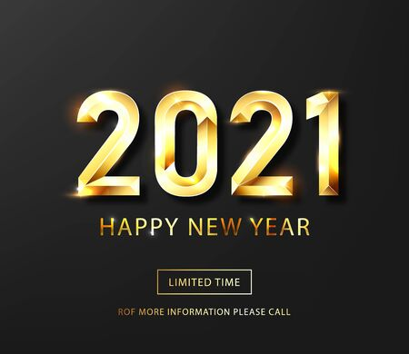 Happy new year 2021 banner.Golden Vector luxury text 2021 Happy new year. Gold Festive Numbers Design. Happy New Year Banner with 2021 Numbers .Vector illusration