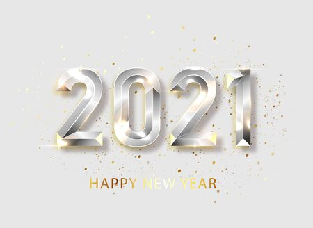 Happy new year 2021 banner. Silvered Vector luxury text 2021 Happy new year. Silver Festive Numbers Design. Happy New Year Banner with 2021 Numbers. Vector illusration EPS 10