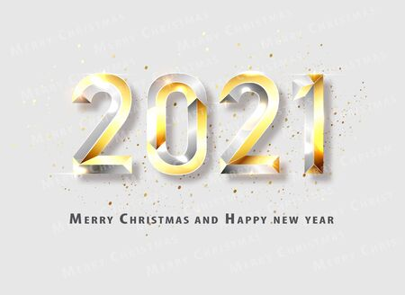 Happy New 2021 Year. Holiday vector illustration of golden metallic numbers 2021. Realistic 3d sign. Festive poster or banner design. Vector illusration