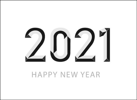 Happy New Year 2021 logo text design. Cover of business diary for 2021 with wishes. Brochure design template, card, banner. Vector illustration. Isolated on white background.