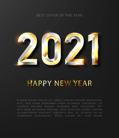 Happy New Year 2020 gold and silver winter holiday greeting card design template. Party poster, banner or invitation gold glittering stars confetti glitter decoration. Vector illusration EPS 10