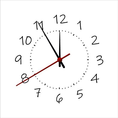 Round clock isolated on white background. Minimal concept. Flat lay. Vector illusration Illustration