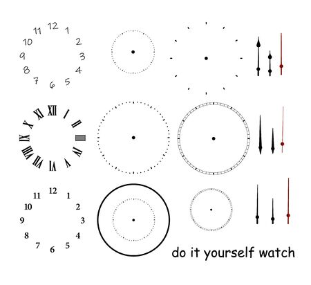 Blank clock face with hour, minute and second hands isolated on white background. Just set your own time Illustration